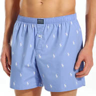 Polo Ralph Lauren Printed Polo Player 100% Cotton Woven Boxer 676R