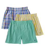 Polo Ralph Lauren Classic Fit 100% Cotton Woven Boxers - 3 Pack LCWB